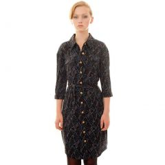 Mia Melon Blue Black Jersey Knit Oxford Style Dress Womens S