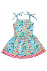 AnnLoren Big Girls Blue Mermaid Spaghetti Straps Cotton Knit Dress 7-12