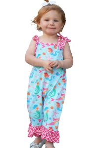 AnnLoren Baby Girls Blue Pink Nautical Mermaid Polka Dot Romper 6-24M