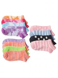 Miss Attitude Big Girls Multi Color 12 Pack Ankle Low Cut Socks 8-11