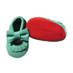 Baby Girls Aqua Red Soft Sole Mary Jane Bow Faux Leather Crib Shoes 3-18M