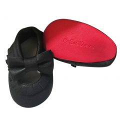 Baby Girls Black Red Soft Sole Mary Jane Bow Faux Leather Crib Shoes 3-18M