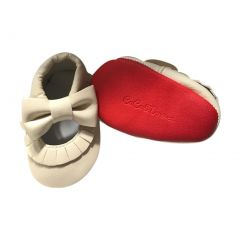 Baby Girls Cream Red Soft Sole Mary Jane Bow Faux Leather Crib Shoes 3-18M