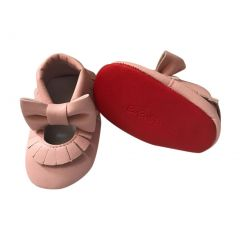 Baby Girls Pink Red Soft Sole Mary Jane Bow Faux Leather Crib Shoes 3-18M