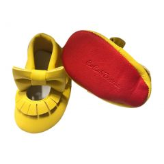 Baby Girls Yellow Red Soft Sole Mary Jane Bow Faux Leather Crib Shoes 3-18M