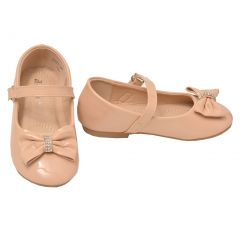 Anne Marie Girls Nude Rhinestone Bow Hook-And-Loop Strap Mary Jane Shoes 4 Baby
