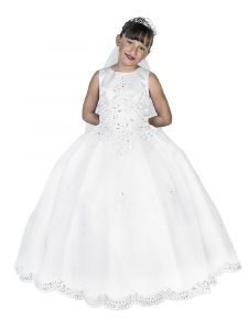 Big Girls White Embroidered Organza Sleeveless Bolero Communion Dress 7-18