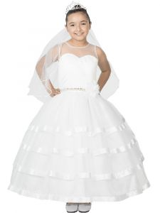 Big Girls White Beaded Waist Sleeveless Ruffled Tulle Skirt Communion Dress 8-20