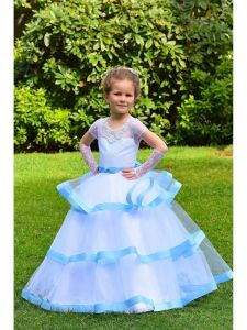 Little Girls Blue Illusion Neckline Triple Tiered Marisa Flower Girl Dress 4-7