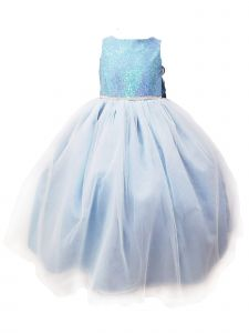 Sinai Kids Big Girls Blue Frozen Melissa Flower Girl Dress 8-12