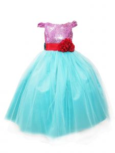 Sinai Kids Big Girls Blue Little Mermaid Melissa Flower Girl Dress 8-12