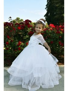 TriumphDress Big Girls White Polka Dotted Tulle Miranda Flower Girl Dress 8/10