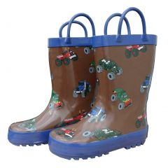 Brown Mighty Monster Trucks Boys Rain Boots 11-3