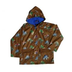 Big Boys Brown Monster Truck Rain Coat 8-10