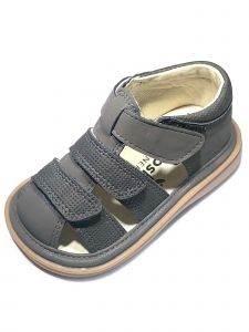 Mooshu Trainers Baby Boys Charcoal  Squeaky Henry Strap Sandals 3-4 Baby