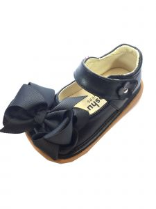 Mooshu Trainers Little Girls Black Squeaky Cute Bow Mary Jane Shoes 5-9 Toddler