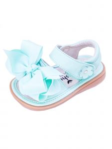 Mooshu Trainers Baby Girls Green  Squeaky Cute Bow Strap Sandals 3-4 Baby