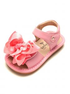 Mooshu Trainers Baby Girls Pink  Squeaky Cute Bow Strap Sandals 3-4 Baby