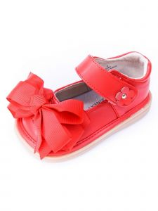 Mooshu Trainers Baby Girls Red  Squeaky Cute Bow Mary Jane Shoes 3-4 Baby