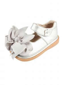 Mooshu Trainers Baby Girls Silver  Squeaky Cute Bow Mary Jane Shoes 3-4 Baby