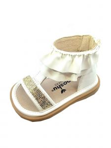 Mooshu Trainers Baby Girls White  Squeaky Lucy Ruffle Strap Sandals 3-4 Baby