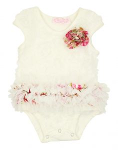 Popatu Baby Girls White Multi Color 3D Rose Cap Sleeve Ruffle Bodysuit 0-9M