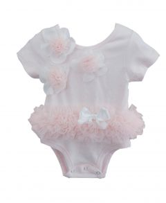 Popatu Baby Girls Dusty Pink 3D Flower Short Sleeve Ruffle Bodysuit 0-9M