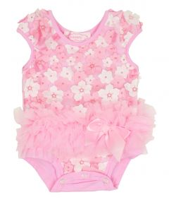 Popatu Baby Girls Pink Trim 3D Mini Flower Cap Sleeve Ruffle Bodysuit 0-9M