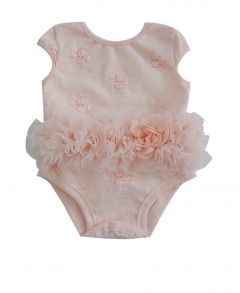 Popatu Baby Girls Dusty Rose Embroidered Flower Cap Sleeve Ruffle Bodysuit 0-9M