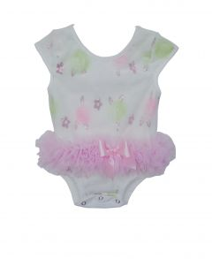 Popatu Baby Girls White Sequin Pastel Flower Cap Sleeve Ruffle Bodysuit 0-9M