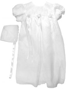 Baby Girls White Lace Satin Ribbon Bonnet Christening Dress Outfit 0-24M