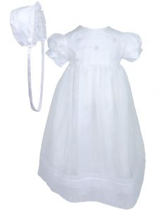 Baby Girls White Organza Sheer Flowers Bonnet Christening Dress Outfit 6-9M