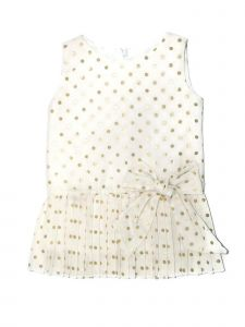 Coquelicot Little Girls White Gold Polka Dot Pleated Sicilia Nicole Dress 2-5T