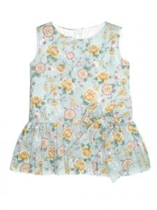 Coquelicot Little Girls Blue Floral Print Pleated Gris Sicilia Nicole Dress 2-5T