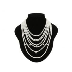 Cinderella Couture Pearl Rhinestone Multi Layer Necklace