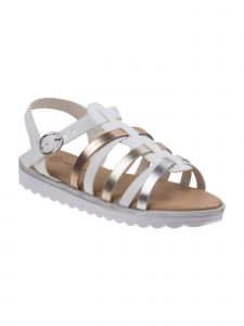 Nanette Lepore Girls White Multi Gladiator Style Buckle Sandals 11-4 Kids