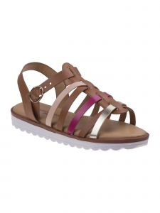 Nanette Lepore Girls Tan Multi Gladiator Style Buckle Sandals 11-4 Kids