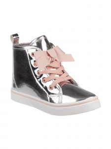 Nanette Lenore Girls Silver Holographic Pink Lace Bow Sneakers 6 Toddler-12 Kids