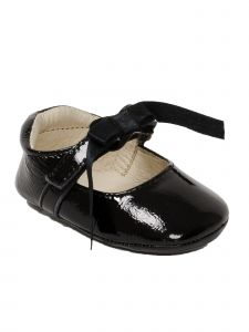 Pazitos Girls Patent Black Satin Bow Leather Mary Jane Shoes 1-3.5 Baby