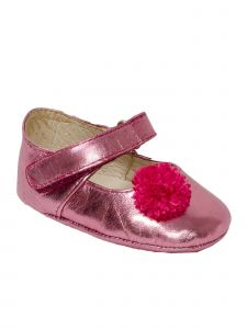 Pazitos Girls Pink Metallic Leather Flower Adorned Mary Jane Shoes 1-3.5 Baby