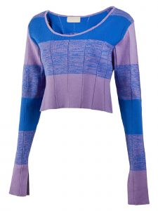 Jarret Womens Multi Color Wide Stripe Knit Crop Top S-L