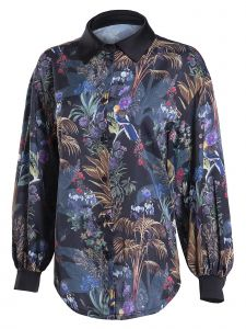 Zuvin Womens Multi Color Tropical Floral Print Collared Shirt S-L