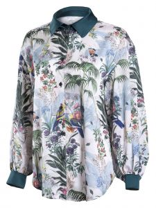 Zuvin Womens Ivory Multi Tropical Floral Print Collared Shirt S-L
