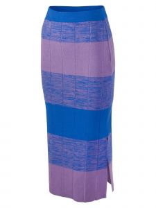 Jarret Womens Multi Color Wide Stripe Knit Midi Skirt S-L