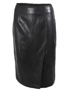 Noixte Womens Black PU Leather Skirt S-L