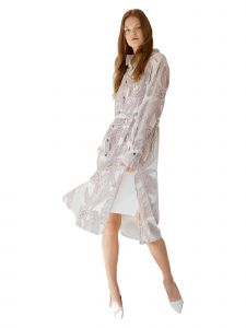 CENTURYCLO Womens White Burn Out Printed Shirt Dress S-L
