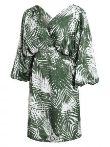 Zuvin Womens Green Tropical Print Puffed Sleeve Dress S-L