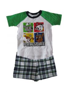 Nickelodeon Little Boys Green White Paw Patrol Short Sleeve Outfit 2T-4T