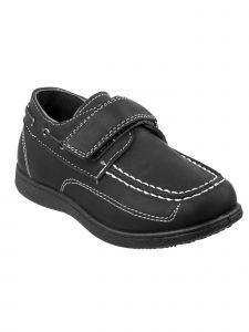 Josmo Boys Black Stitching Detail Hook-And-Loop Strap Boat Shoes 12-4 Kids
