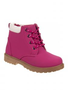 Josmo Girls Fuchsia Rubber Sole Casual Lace Up Boots 6-10 Toddler